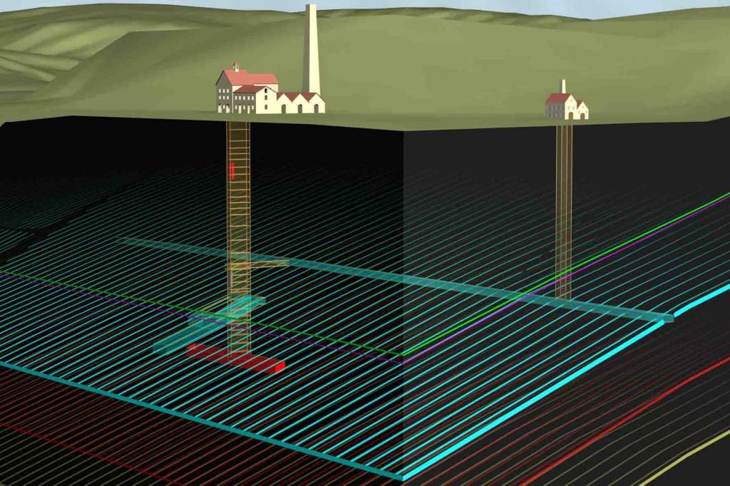 Digitale Rekonstruktion des Grubenfeldes unter der Zeche Nachtigall. Foto: LWL/maßwerke