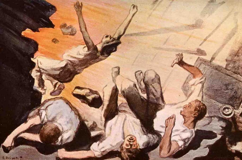 Die Folgen von Unfällen im Bergbau - hier die Illustration einer Explosion aus dem Jahr 1899 - milderte die Knappschaft ab. Repro: LWL