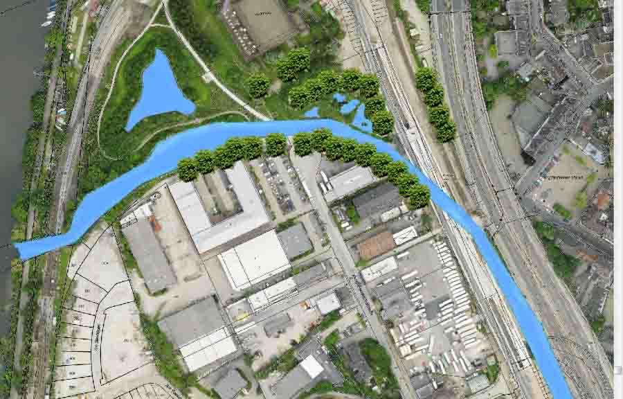 Abb. 2: Naturnahe Umgestaltung Unterlauf Deilbach | Copyright: Stadt Essen, Fachbereich Wasserwirtschaft