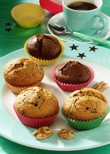 Weihnachtsrezepte: Weihnachts-Muffins/Schoko-Nuss-Muffins Foto: www.weihnachtsmenue.de