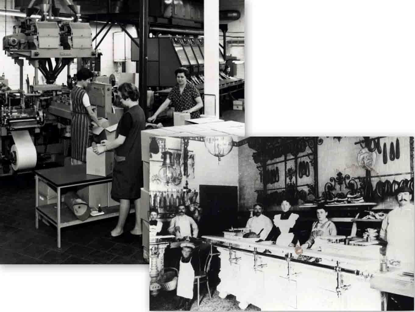 Der Stadtrundgang zeigt das Frauenbild im Wandel der Zeit. Auch in Herten haben weibliche Einflüsse das Stadtbild geprägt. Auf dem linken Bild verpacken die Mitarbeiterinnen Kaffee. Die Aufnahme stammt aus den Fünfziger Jahren. Das rechte Bild zeigt die Mitarbeiterinnen der Firma Schweisfurth Anfang des 19. Jahrhunderts. Foto: Stadt Herten