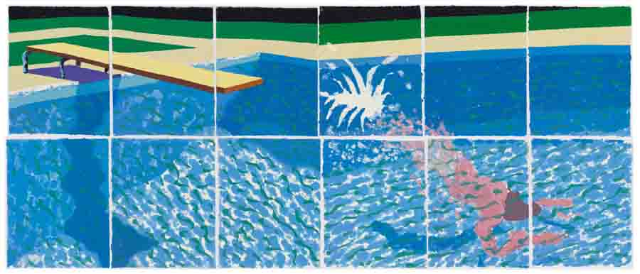 David Hockney, A Diver, 1978, Nr. 17 aus der Serie »Paper Pools«, Zwölf aneinandergefügte Blätter aus farbigem gepresstem Zellstoff, 91,4 x 71,1 cm (Blätter), 182,8 x 434,4 cm Foto: National Gallery of Australia, Canberra